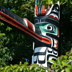 Canadian Wildlife And Vancouver Island Totem Pole
